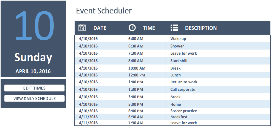 Daily Work Schedule Excel - Business Insights Group AG