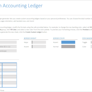 A01-Accounting Ledger Setup, Account Ledger Excel Generator, Financial Statements, Doing it Right, account ledger, account ledger excel