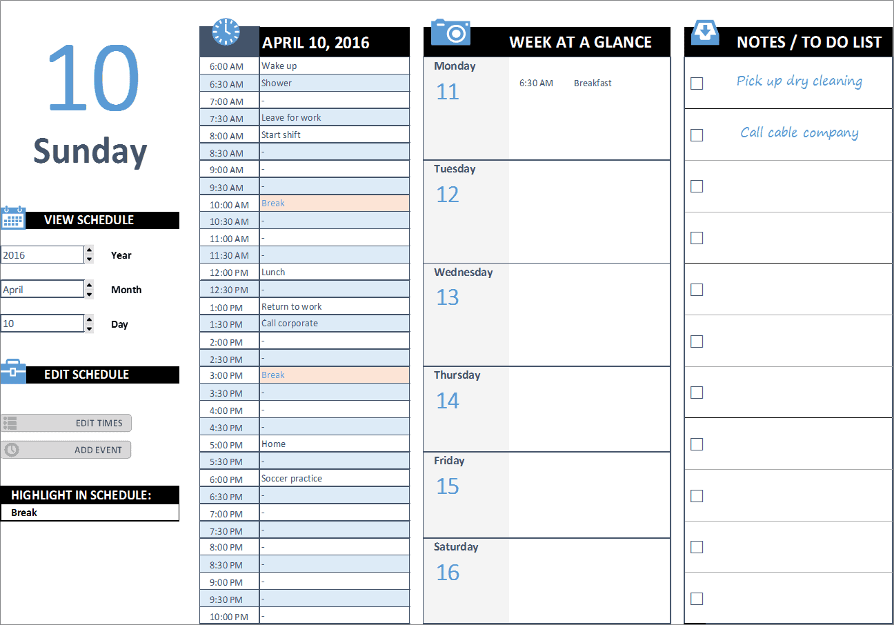 Daily work schedule excel business insights group ag for Building directory template