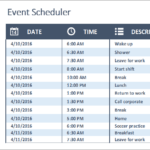 D01-Event Scheduler, Daily Work Schedule Excel, Business Planning, Building your Business, daily work schedule, daily work schedule excel